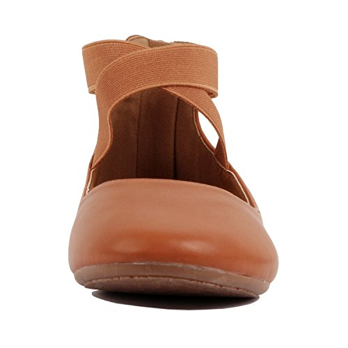 Guilty Shoes Womens Classic Comfort Elastic Crossing Straps - Stretchy Ballerina Ballet Flats Shoes Tan Pu
