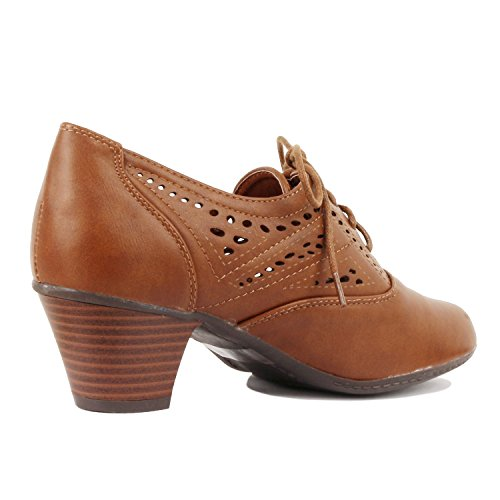 Guilty Shoes Womens Classic Retro Two Tone Embroidery - Wing Tip Lace up Kitten Heel Oxford Pumps Tan Pu