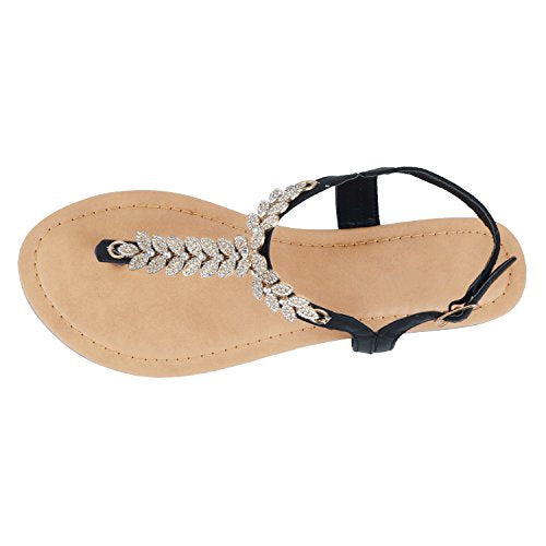 Guilty Heart Womens Rhinestone Sparkle Sling Back Spring Summer Casual Thong Sandal Flats Black Pu