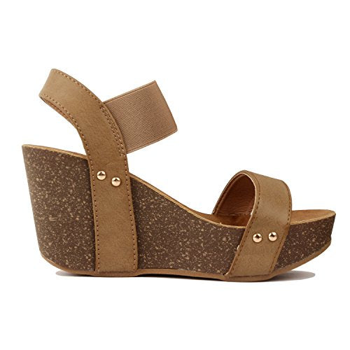 Guilty Heart Womens Cork Comfort Casual Wide Band Platform Wedge Sandal Platforms & Wedges Taupe Pu