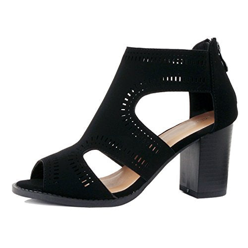 Guilty Shoes Womens Strappy Cut Out Gladiator - Open Toe Platform - Block Chunky Heel Sandals Heeled Sandals Black Pu