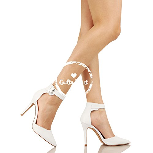 Guilty Heart Womens High Heel Sexy Stiletto Pointed Toe Ankle Buckle Dress Pumps White Pu