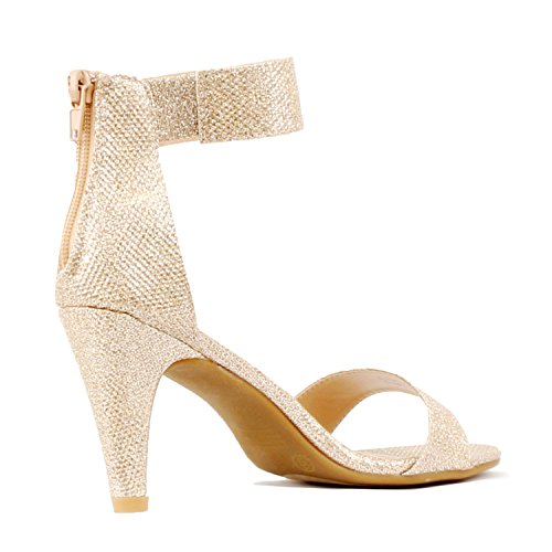 Guilty Shoes Womens Classic Comfort Sexy Open Toe Mid Heel Ankle Strap Dress Stiletto Heeled-Sandals Champagne Metallic