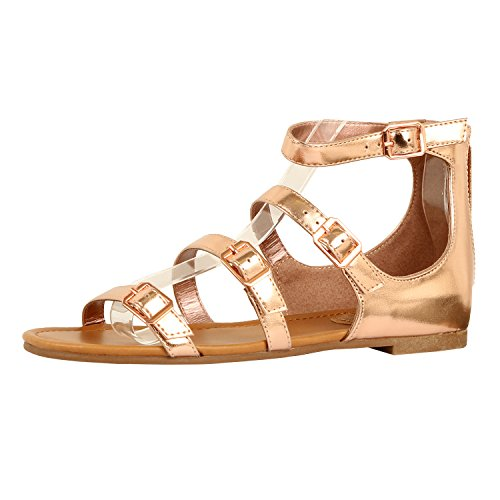 Guilty Heart Womens Sexy Versatile Strappy Platform Stiletto Block Heel Ankle Strap Sandal Sandals, Rose Gold PU