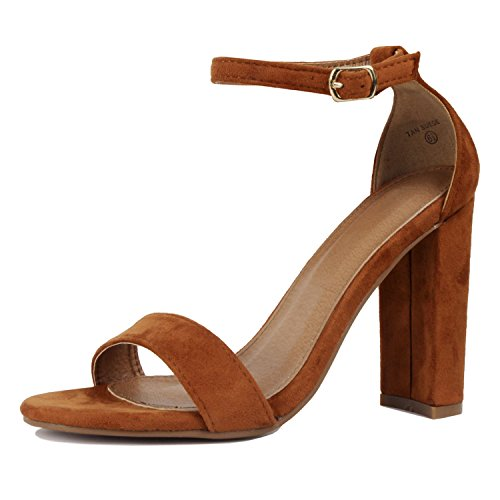 Guilty Shoes Comfort Suede One Band Open Toe - Sexy Ankle Strap Buckle - Dress Party Chunky Heel Heeled-Sandas Tan Suede