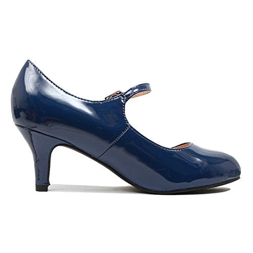 Guilty Heart Classic Mary Jane - Vintage Cute Low Kitten Heel - Round Closed Toe - Elegant Pumps-Shoes Pumps Pumps Navy Patent