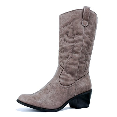 West Blvd Miami Cowboy Western Boots Grey Pu