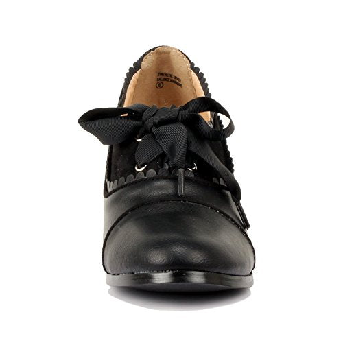 Guilty Shoes Classic Retro Two Tone Embroidery Wing Tip Lace up Kitten Heel Pump Oxfords Shoes Oxfords Black