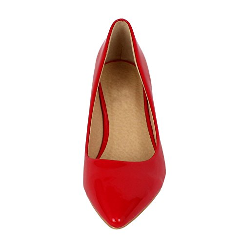 Guilty Shoes Womens Deco Embellished Classic Elegant Closed Pointy Toe Low Kitten Heel Dress Pump Shoes Heeled-Sandals Red Patent
