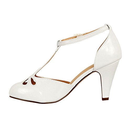 Guilty Heart Womens Vintage Retro Mary Jane Kitten Mid Heel Pump Pumps White Pat