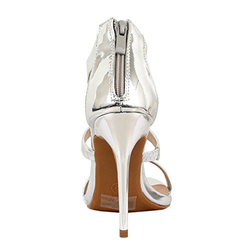 Guilty Shoes Women Glamour Sexy Metallic Ankle Strap Zip up Dress Sandal Sandals Silver Pu