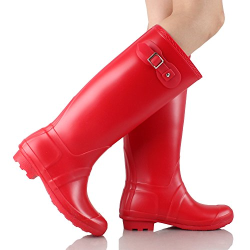 Guilty Heart Waterproof Knee High Wellington Rubber Rainboots Rain Footwear Red Rubber