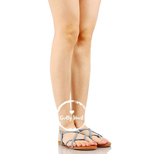 Guilty Heart Womens Crisscross Summer Gladiator Braided Comfort Yoga Strappy Flats Sandals Light Blue Denim