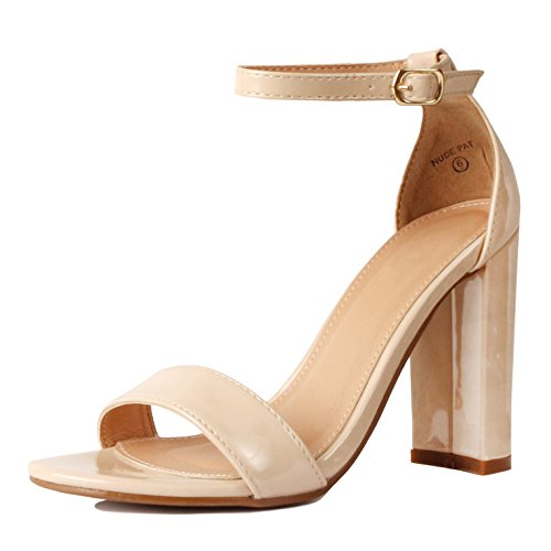 Guilty Shoes Womens Comfort High Heel Sandal - One Band Open Toe Ankle Strap Sexy Dress Chunky Block Heel - Stiletto Sandals Nude Pat