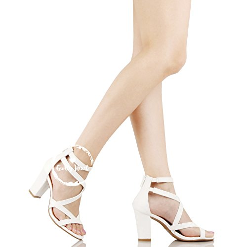 e0185795a0b Guilty Heart Womens Comfortable Block Chunky Ankle Strap Strappy Open Toe  Mid Heel Sandals White Pu ...