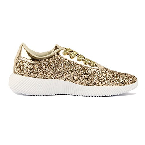 1ad43c9486c5 ... Guilty Shoes Womens Fashion Glitter Metallic Lace up Sparkle Slip On - Wedge  Platform Sneaker Fashion ...