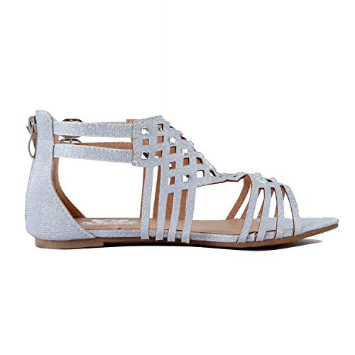 Guilty Heart Womens Summer Strappy Gladiator Bead Bohemian Flat Sandals Sandals Silver