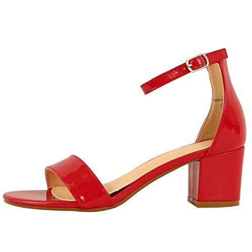 Guilty Shoes Womens Ankle Strap Single Band Sandals - Low Chunky Block Comfortable Office Heeled Sandals Red Patent