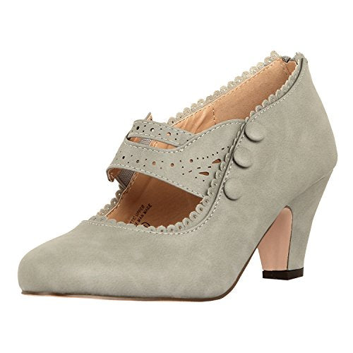 Guilty Shoes Womens Classic Retro Two Tone Embroidery - Wing Tip Lace up Kitten Heel Oxford Pumps Grey Pu
