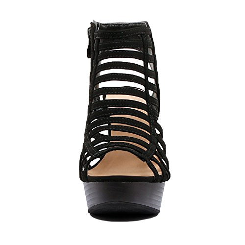 Guilty Shoes Womens Cutout Gladiator Ankle Strap Platform Fashion High Heel Stiletto Sandals Black Pu