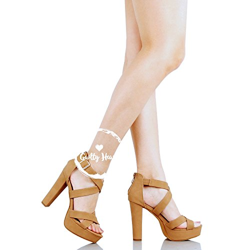 Guilty Shoes Womens Cutout Gladiator Ankle Strap Platform Fashion High Heel Stiletto Sandals Heeled Sandals Tan Pu
