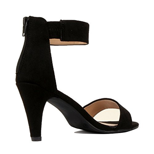 4e58d1412f84 ... Womens Classic Comfort Sexy Open Toe Mid Heel Ankle Strap Dress  Stiletto Heeled-Sandals Black ...