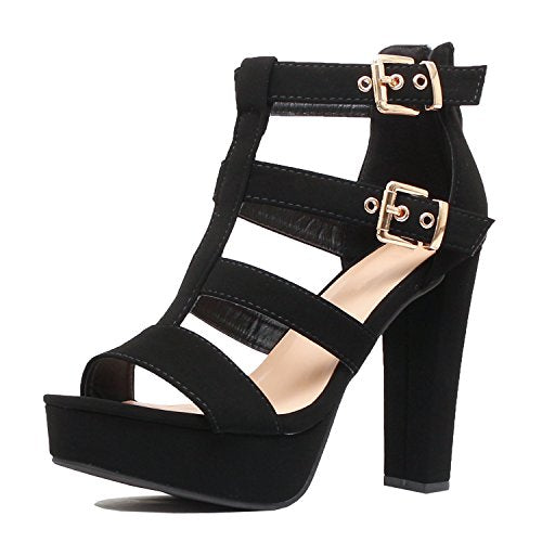 Guilty Shoes Womens Cutout Gladiator Ankle Strap Platform Fashion High Heel Stiletto Sandals Heeled Sandals Black Pu