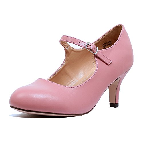 Guilty Heart Classic Mary Jane - Vintage Cute Low Kitten Heel - Round Closed Toe - Elegant Pumps-Shoes Pumps Pumps Mauve Pu