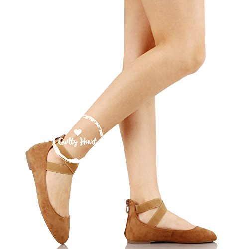 Guilty Shoes Women's Classic Ballerina Flats - Elastic Crossing Straps - Comfort Stretchy Ballet-Flats Tan Suede