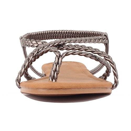Guilty Heart Womens Crisscross Summer Gladiator Braided Comfort Yoga Strappy Flats Sandals Pewter Pu
