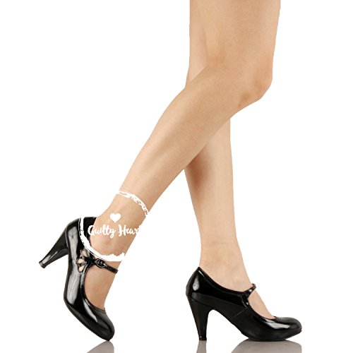 Guilty Heart Womens Retro Round Toe Ankle Strap Low Kitten Heel Mary Jane Pumps Black Patent