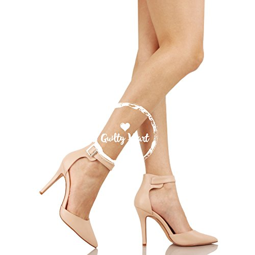 Guilty Heart Womens High Heel Sexy Stiletto Pointed Toe Ankle Buckle Dress Pumps Nude Pu