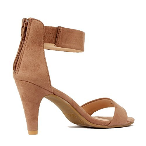 Guilty Shoes Womens Classic Comfort Sexy Open Toe Mid Heel Ankle Strap Dress Stiletto Heeled-Sandals Dark Taupe Suede