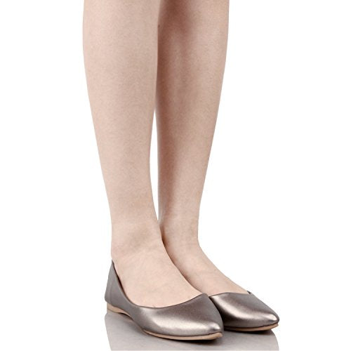 Guilty Shoes Women's Classic Pointy Toe Ballet Slip On Comfortable Flats Flats Pewter Pu