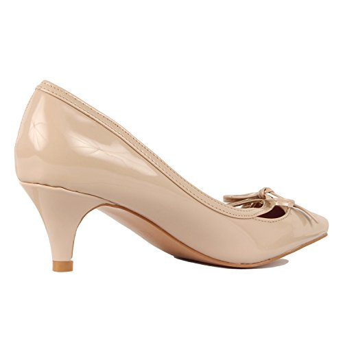 Guilty Shoes Womens Classic Pointy Toe Low Kitten Heel Office Dress Slip On Fashion Pump Beige Patent Bow