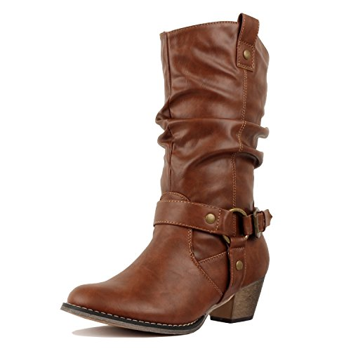 West Blvd Miami - Cowboy Western Womens Embroidery Stitching Chunky Heel Boots Tan Harness