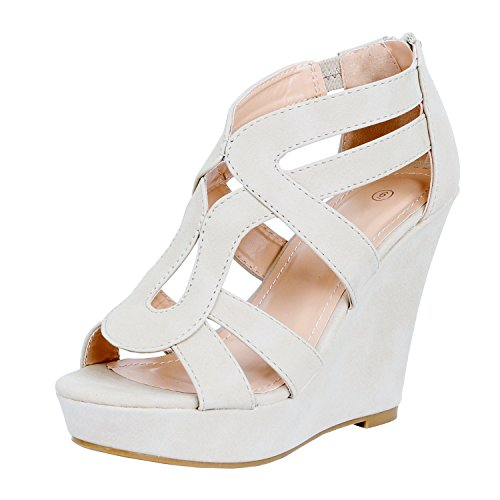 GUILTY HEART Womens Gladiator Strappy Buckles - High Heel Platform Wedge Sandals Beige Pu