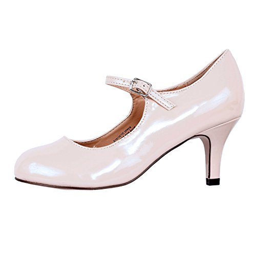 Guilty Heart Classic Mary Jane - Vintage Cute Low Kitten Heel - Round Closed Toe - Elegant Pumps-Shoes Pumps Pumps Nude Patent