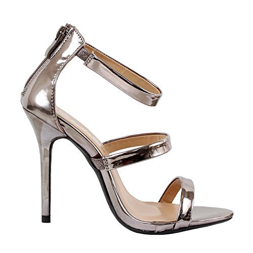 Guilty Shoes Women Glamour Sexy Metallic Ankle Strap Zip up Dress Sandal Sandals Pewter Pu
