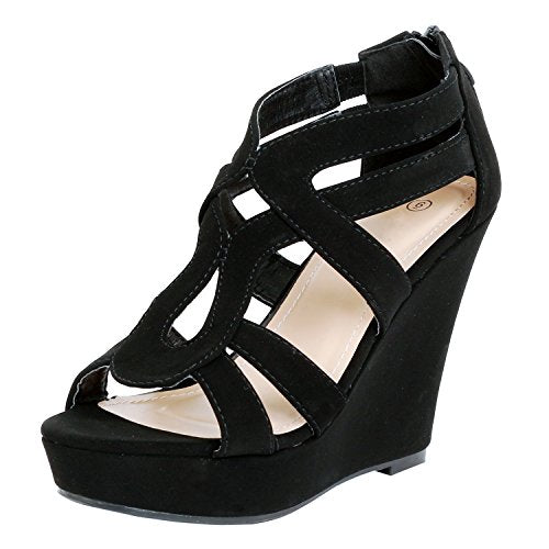 Guilty Shoes Womens Gladiator Strappy Buckles - High Heel Platform Wedge Sandals Black Pu