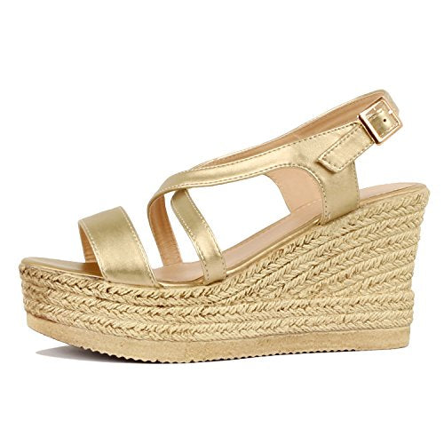 Guilty Heart Womens Casual Comfortable Braided Bottom Platofrm Open Toe Summer Wedge Sandal Platforms & Wedges Gold PU