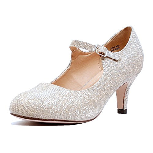 Guilty Heart Classic Mary Jane - Vintage Cute Low Kitten Heel - Round Closed Toe - Elegant Pumps-Shoes Pumps Pumps Nude Glitter