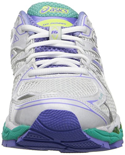 ASICS Women's GEL-Nimbus 16 (2A) Running Shoe White/Periwinkle/Mint