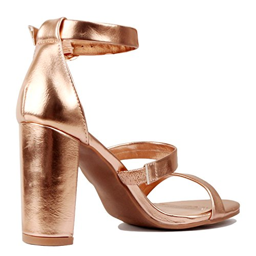 Guilty Heart Womens Sexy Versatile Strappy Platform Stiletto Block Heel Ankle Strap Sandal Heeled Sandals Heeled Sandals Rose Gold Pu