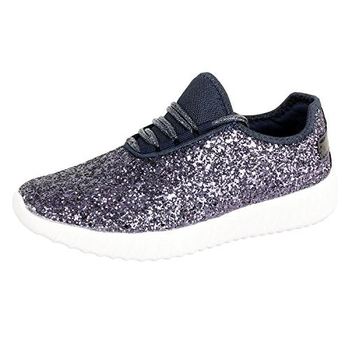 Guilty Shoes Womens Fashion Glitter Metallic Lace up Sparkle Slip On - Wedge Platform Sneaker Blue Glitter