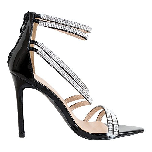 Guilty Shoes Women Sexy Metallic Ankle Strap Zip up Dress - Open Toe Stiletto Sandals Sandals Black Pu