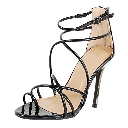 Guilty Heart - Women Sexy Metallic Ankle Strap Zip up Dress - Open Toe Stiletto Sandals Sandals Black Pu