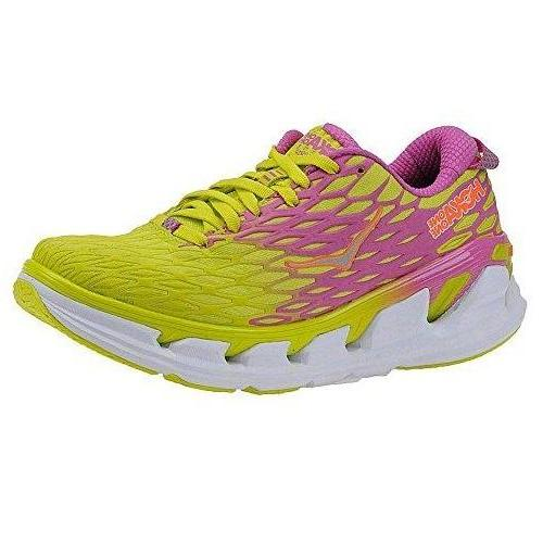 HOKA ONE ONE Womens Vanquish 2 Running Sneaker Shoe Acid/Fushia