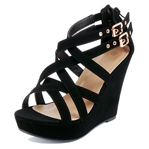 GUILTY HEART Womens Gladiator Buckles High Heel Platform Sandals Sandals Black Pu
