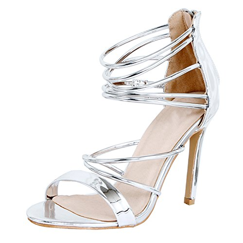 Guilty Shoes Women Sexy Metallic Ankle Strap Zip up Dress - Open Toe Stiletto Sandals Silver P